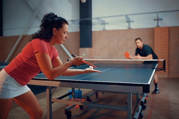 Table tennis, male and female ping pong players