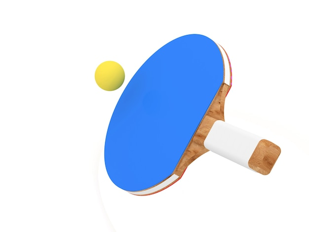 白い背景の上のボールと卓球ラケット