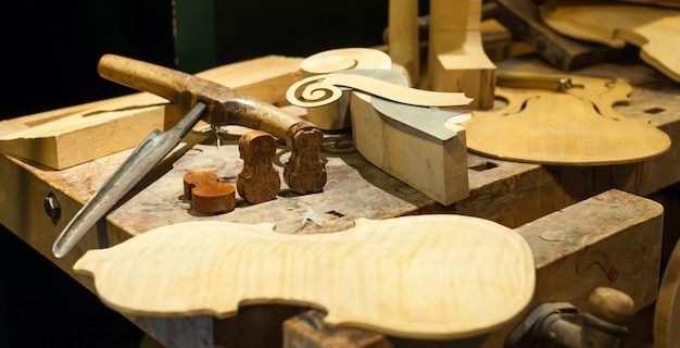 Table of tools for making violin model