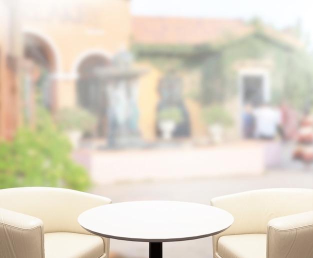 テーブルトップと背景のぼやけた外観