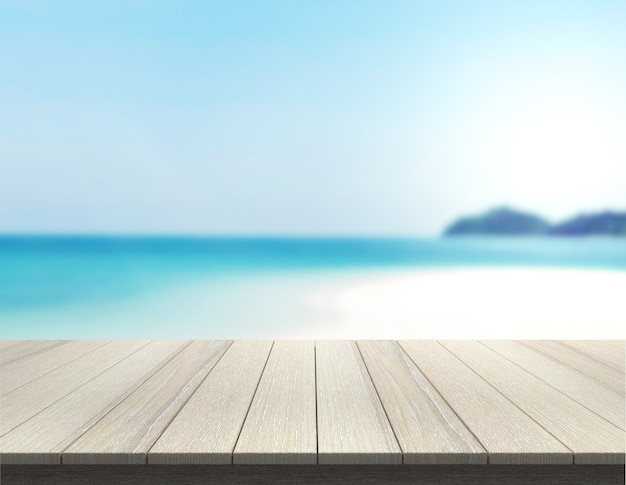Table top on the beach and blur nature for  background