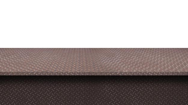 디스플레이에 사용되는 테이블 상단 금속 바닥 플레이트 다이아몬드 패턴, 흰색 배경에 고립 된 제품을 몽타주