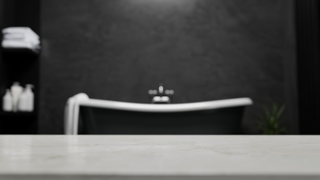 Table top for montage display your bath product against blurred modern black bathroom 3d rendering