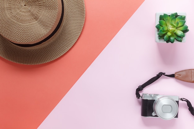 Table top view accessory of clothing women plan to travel in holiday background.