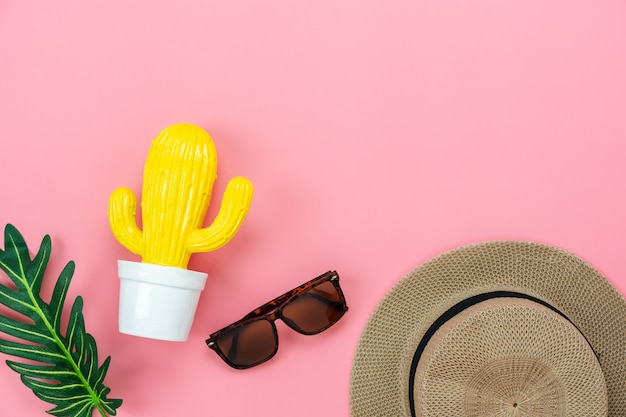 Table top view accessory of clothing women plan to travel in summer holiday
