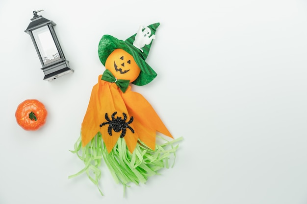 Table top view aerial image of decoration happy halloween day background
