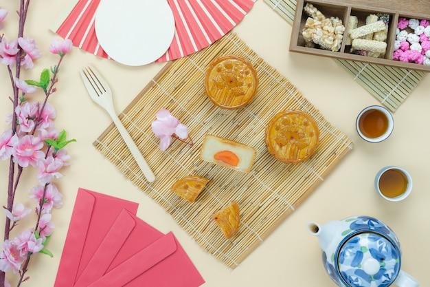 装飾中国の月の祭典の表の上面図空中像。