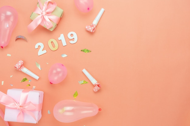 Table top view of merry christmas decorations & happy new year 2019 ornaments concept.