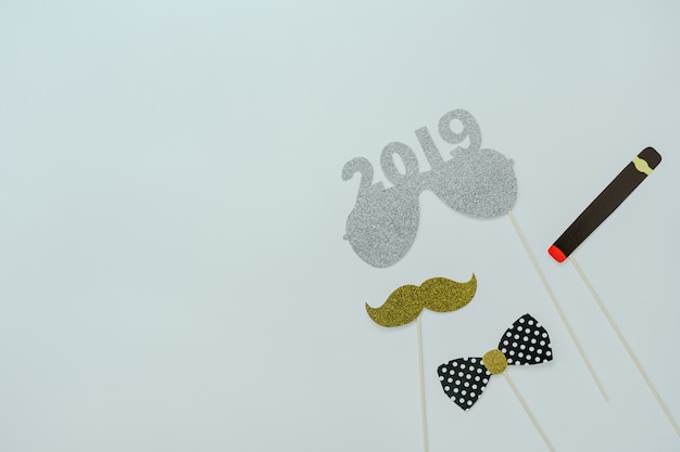 Table top view of merry christmas decorations & happy new year 2019 ornaments.