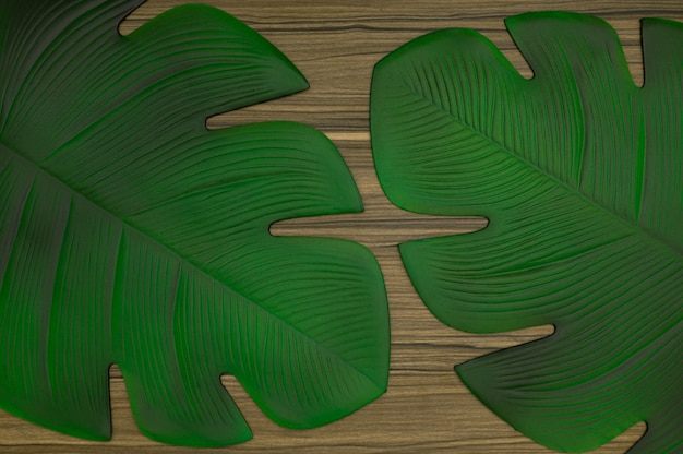 Table top view patterned leaves