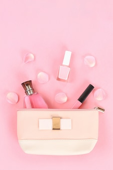 Table top view women fashion and beauty. flat lay