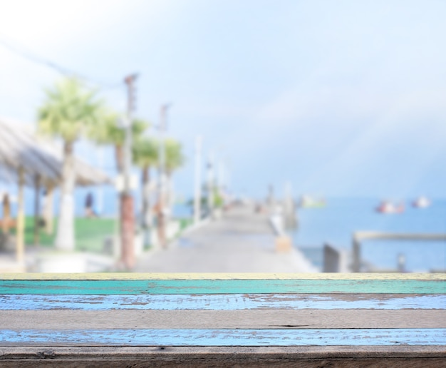 Table top with sea views and blur exterior of background