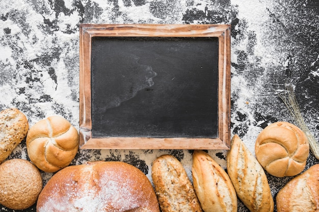 Table with blackboard and bakery