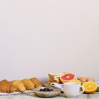 Table with breakfast food