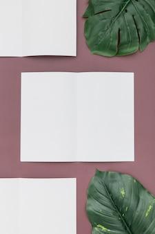 Tavolo con collezione di brochure
