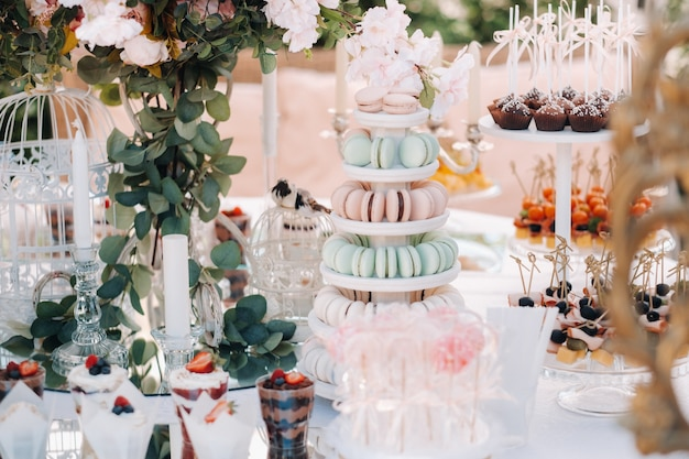 Table with cakes and sweets at the festival.