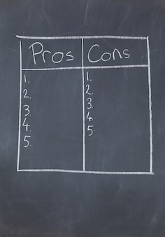Table with numbers confronting pros and cons