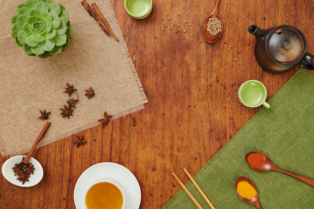 お茶とスパイスのテーブル