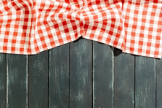 Tablecloth on black wooden table