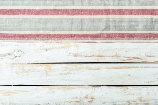 Tablecloth textile on wood