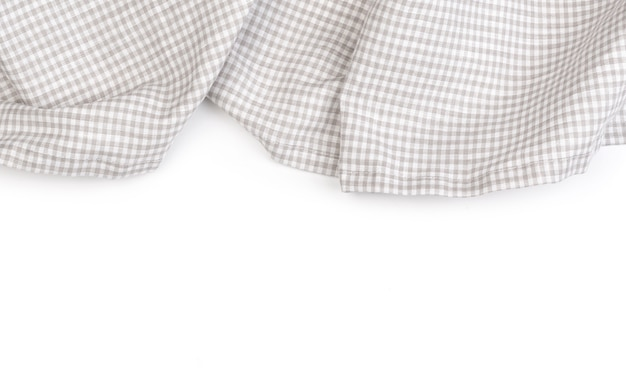 Tablecloth on white crumpled fabric