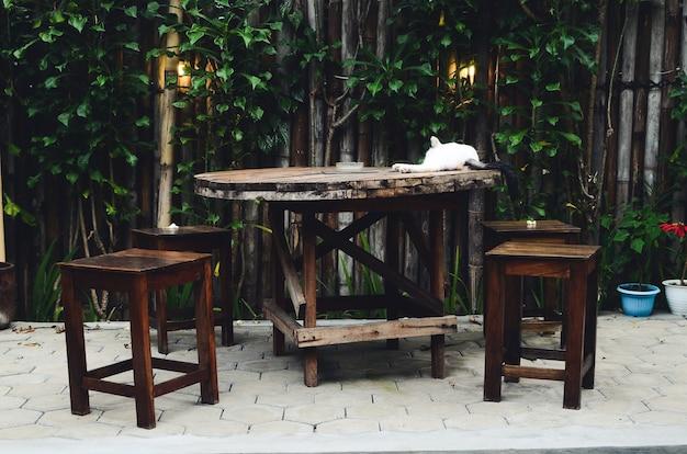 야외 테마가 있는 커피숍의 테이블과 의자