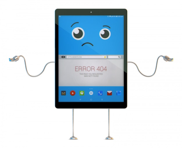 Tablet cartoon character with 404 error on screen. 3d illustration. contains clipping path