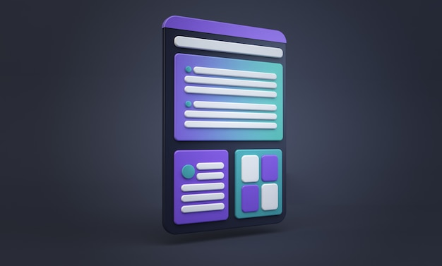 Tablet cartoon ux design concept