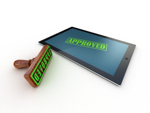 Планшетный компьютер и печать утверждены на экране, 3d-рендеринг