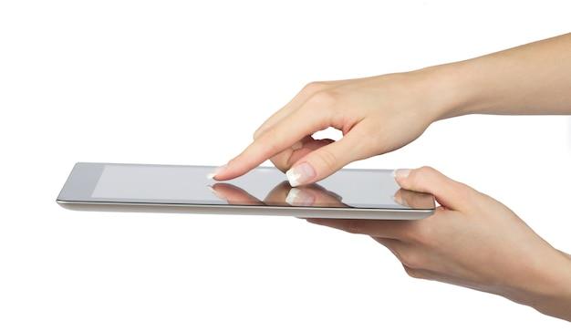 손에 태블릿 컴퓨터