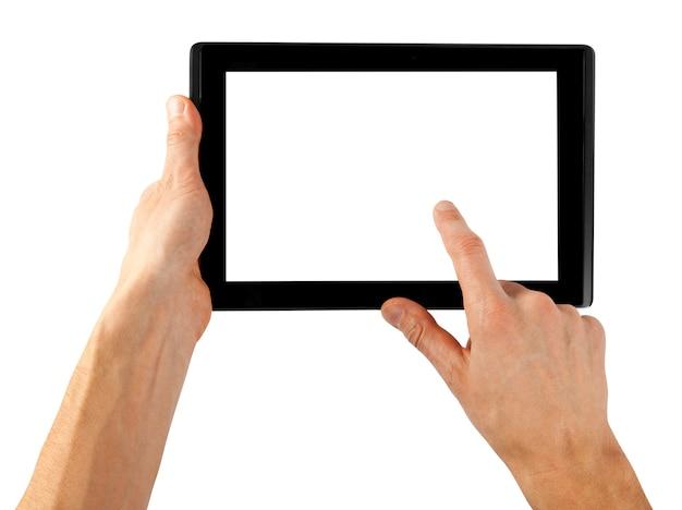 白い背景の上の手で分離されたタブレットコンピューター