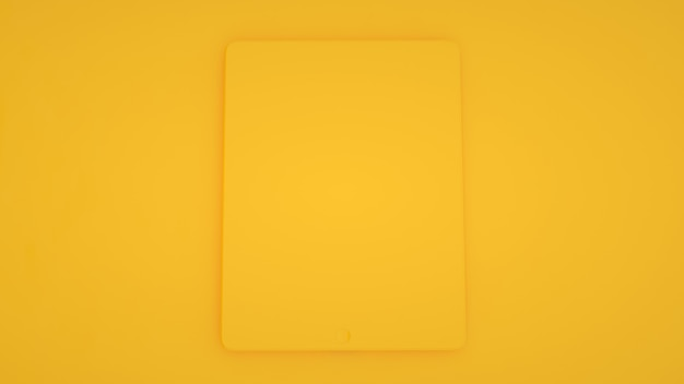 Tablet computer isolated on yellow trendy color background
