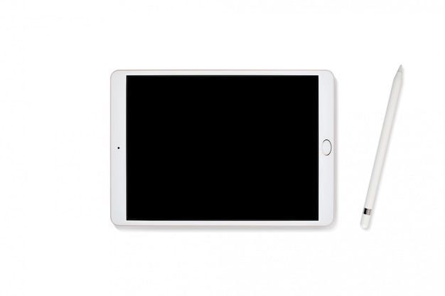 Tablet computer and pencil isolated on white