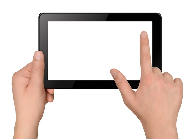 Tablet computer with hands isolated on white background Premium Photo
