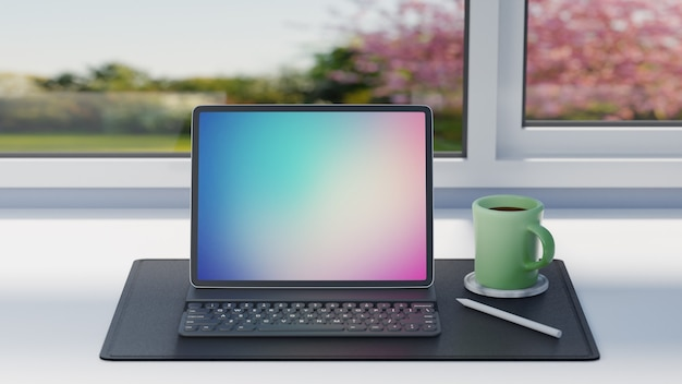 Планшетный компьютер с корпусом клавиатуры, карандашом и зеленой кофейной чашкой на черном кожаном листе на фоне стола и окон. 3d-рендеринг изображения.
