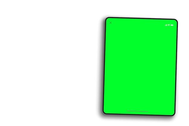 흰색 바탕에 태블릿 녹색 화면입니다. 평면도. 크로마 키.