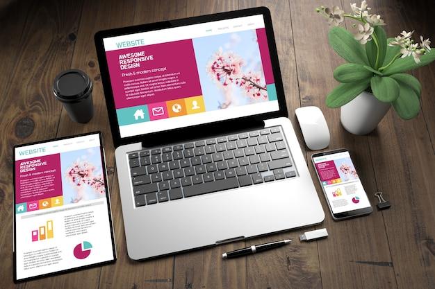 Tablet, laptop and mobile phone top view responsive website 3d rendering over wooden desktop