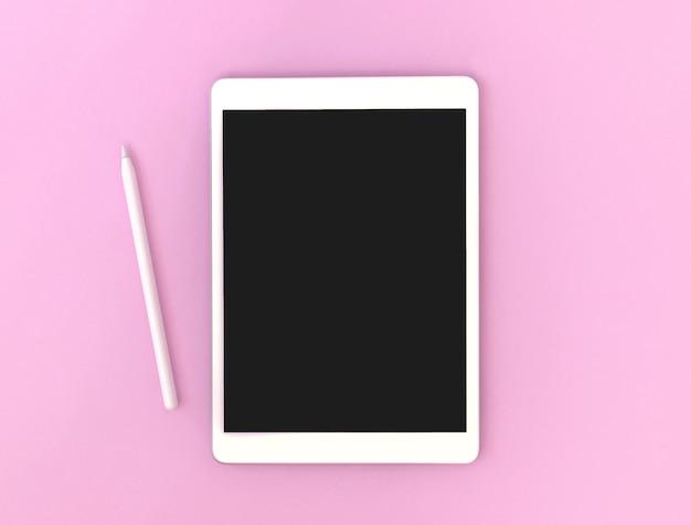 描画とアーティストのためのスタイラス鉛筆、カラフルなピンクの背景、コピースペースの写真とタブレットのモックアップ画面