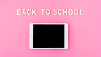 Tablet near back to school writing