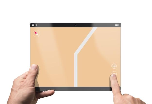 ナビゲーションマップが実行されているタブレットpc。