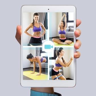 디스플레이에서 피트니스를위한 온라인 응용 프로그램이있는 태블릿 pc