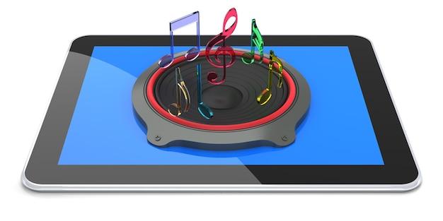 Планшетный компьютер с цифровым звуком. 3d рендеринг