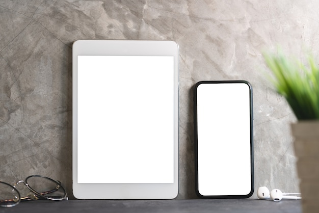 Tablet and phone showing blank screen