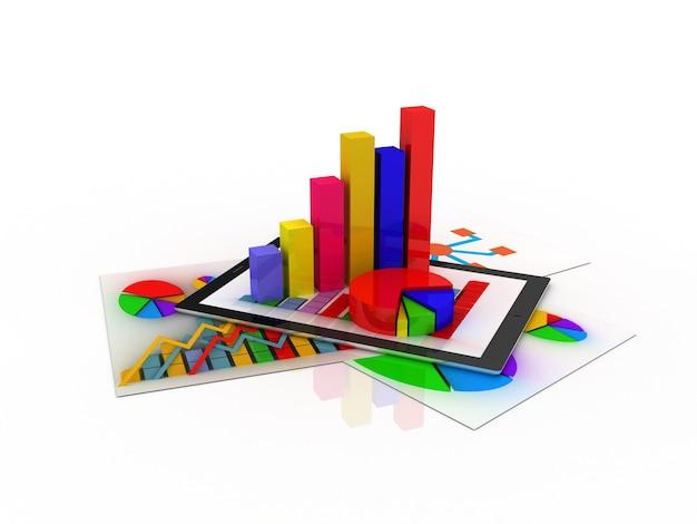 일부 3d 차트로 둘러싸인 통계 차트가있는 스프레드 시트와 종이를 보여주는 태블릿