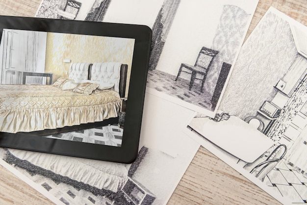 Tablet showing bedroom plans in finished room. modern apartment. technical drawing. home interior design, sketch