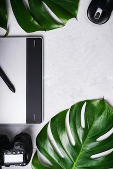 Планшет, стилус, фотоаппарат, оптическая беспроводная мышь, зеленый лист монстера.