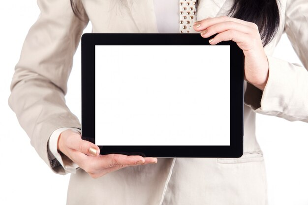 Tablet touch computer gadget in female hands holding