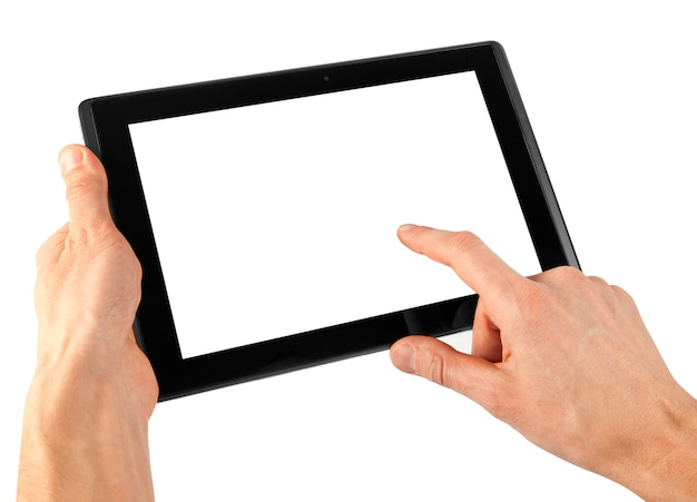 A tablet on the white backgrounds Premium Photo