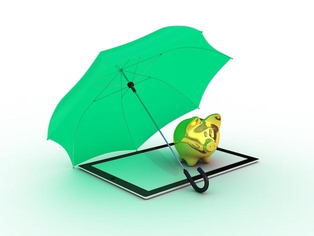 傘の下に金の貯金箱が付いているタブレット。 3dイラスト