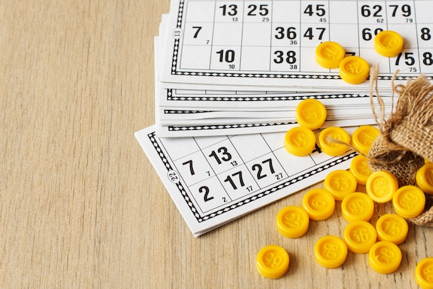 Tabletop old lotto game. cards bingo on light background
